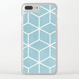 Light Blue and White - Geometric Textured Cube Design Clear iPhone Case