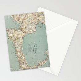 Vintage Map of Cape Cod (1917) Stationery Cards