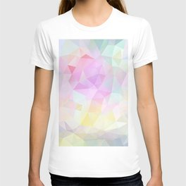 Abstract print of triangles, polygon in pastel colors T-shirt