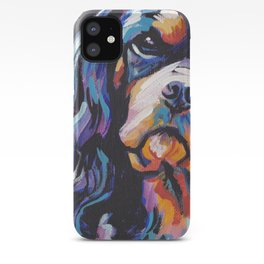 black and tan Cavalier King Charles Spaniel Dog Portrait Pop Art painting by Lea iPhone Case