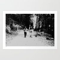 Family walk Art Print