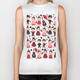 Seamless pattern spanish flamenco dancer. Kawaii cute face with pink cheeks and winking eyes. Biker Tank