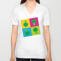 popart V-neck T-shirts featuring Popart Broccoli by XOOXOO