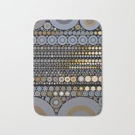 WRANGLE - indigo denim blue black tan cream circle abstract design Bath Mat