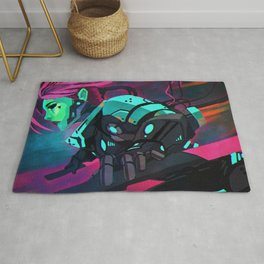 Fantastic Futuristic Cyber Punk Cyborg Girl Neon Lightsaber Ultra HD  Rug