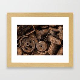 Cracked Wood Bobbins Framed Art Print