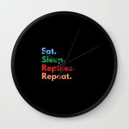 Eat. Sleep. Reptiles. Repeat. Wall Clock