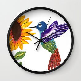 The Sunflower And The Hummingbird Wall Clock