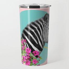 zebra and petunias Travel Mug