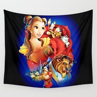 beauty and the beast Wall Tapestries featuring Beauty And The Beast by neutrone