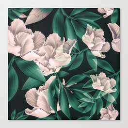 Blooming pink large flowers Canvas Print