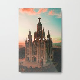 Barcelona Cathedral - Typography on Photography Metal Print