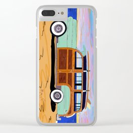 Woody Surf Wagon Clear iPhone Case