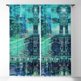 Totem Cabin Abstract - Teal Blackout Curtain