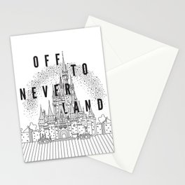 Off to Neverland: Black & White Stationery Cards