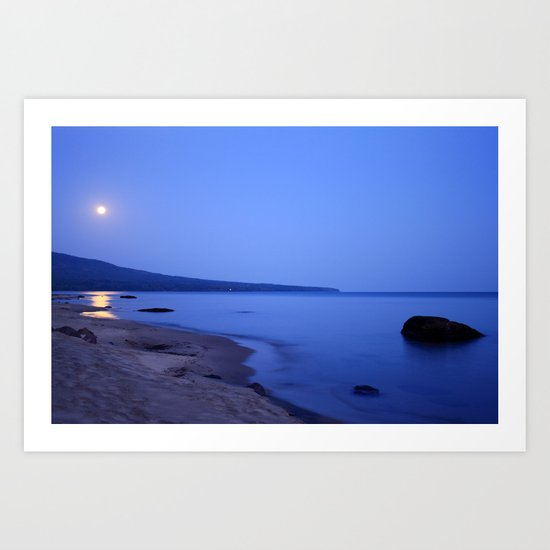 Moon Shimmering on Superior Art Print