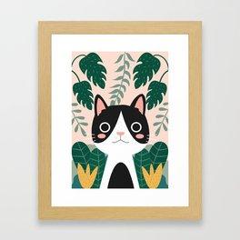 Jungle Cat Black and White Framed Art Print