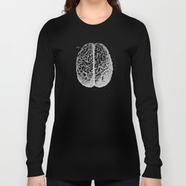 Row o' Brains - Engraving - Vintage - Old Black, White & Brown Long Sleeve T-shirt