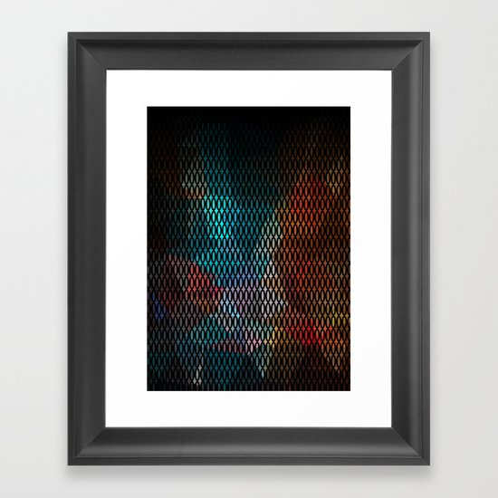 Abstract background of triangles polygon print. Bright dark design colors Framed Art Print