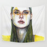 yellow Wall Tapestries featuring yellow lemongrass by agnes-cecile
