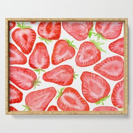 Watercolor strawberry slices pattern Serving Tray