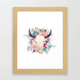 Watercolor bull skull with flower garland Framed Art Print