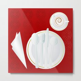 Table setting for one Metal Print