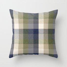 Chambray Fiord Swirly Plaid Throw Pillow