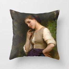 """William-Adolphe Bouguereau """"The Shepherdess"""" Throw Pillow"""