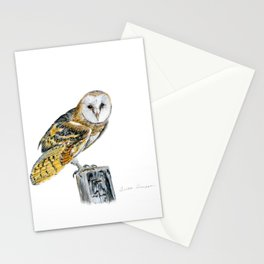 Strike a Pose - painting of a young Barn Owl by Teresa Thompson Stationery Cards