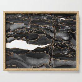 Black and Gold Agate Serving Tray
