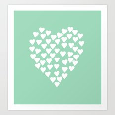 Hearts Heart White on Mint Art Print
