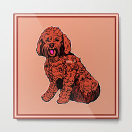 Labradoodle Illustration Metal Print