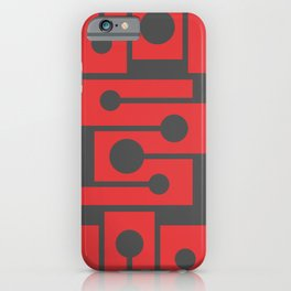 Red angles and dots. Clear geometric shapes.  iPhone Case