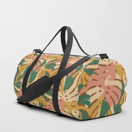 Monstera Leaves - Gold - Green - Pink Duffle Bag