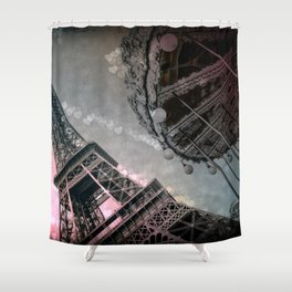 I Dream of Paris Pink Gray Shower Curtain