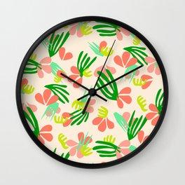 Henri's Garden in peach // tropical flora pattern Wall Clock