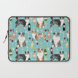 Australian Shepherd blue and red merle wine cocktails yappy hour pattern dog breed Laptop Sleeve