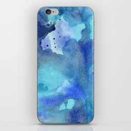 Blue Abstract Watercolor Painting iPhone Skin