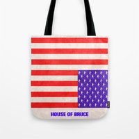 house of cards Tote Bags featuring HOUSE OF CARDS....HOUSE OF BRUCE!  by Rising Trout Design