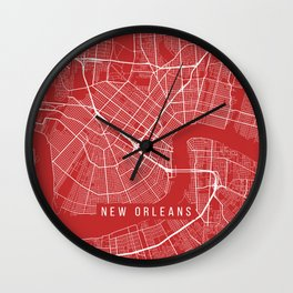 New Orleans Map, USA - Red Wall Clock