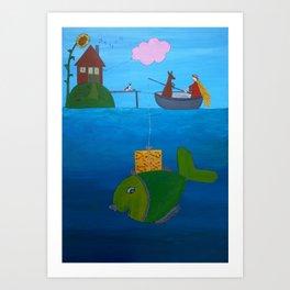 Ozzi and Lulu Fishing Art Print