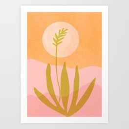 Desert Moon With Agave / Abstract Landscape Art Print
