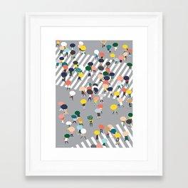 Crossing The Street on a Rainy Day - Grey Framed Art Print