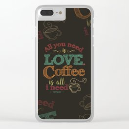 Love & Coffee (dark brown) Clear iPhone Case