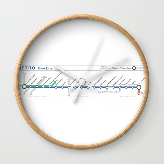 Twin Cities METRO Blue Line Map Wall Clock