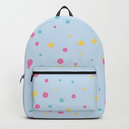 Multicolour Polka Dots on Blue Background Backpack