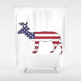 "Deer ""American Flag"" Shower Curtain"