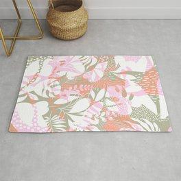 Tropical Jungle Pattern - Pink, coral and Kaki Rug