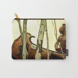 """N C Wyeth Vintage Western Painting """"Birchbark Canoe"""" Carry-All Pouch"""